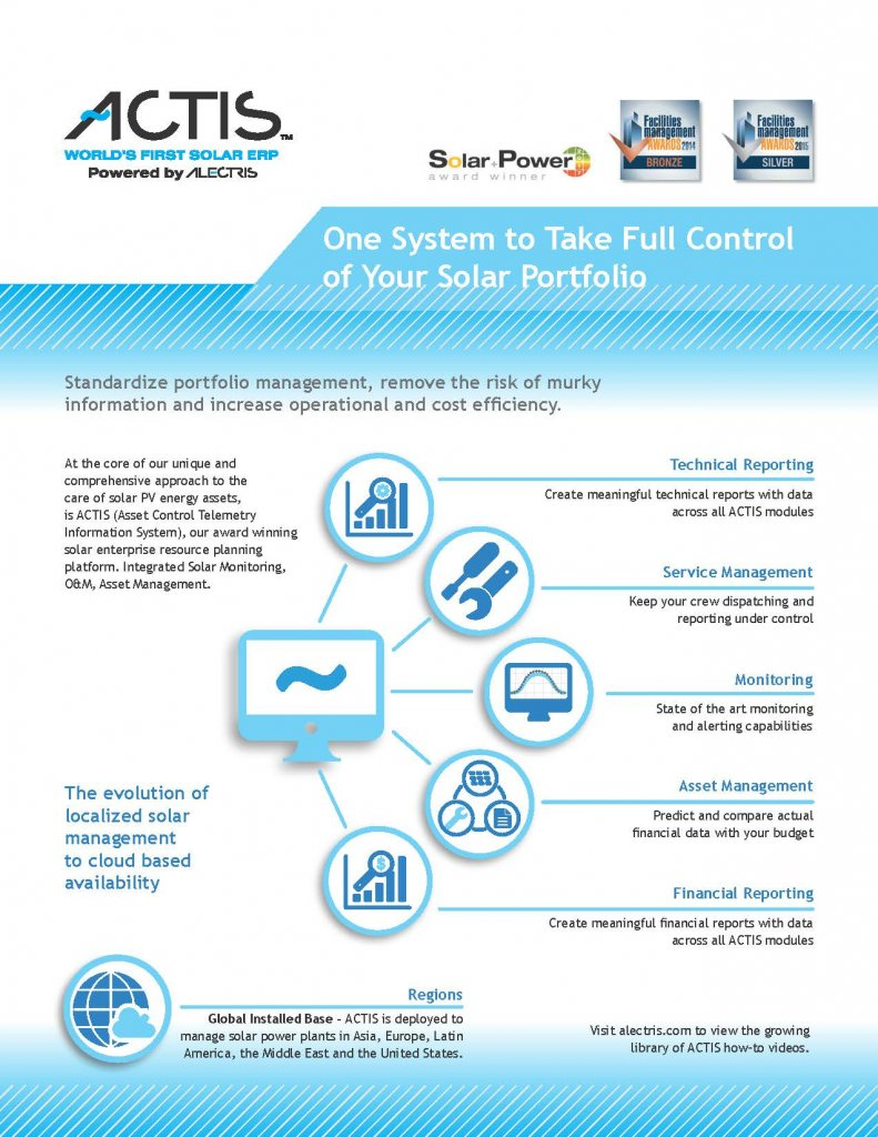 ACTIS world's first solar ERP powered by Alectris
