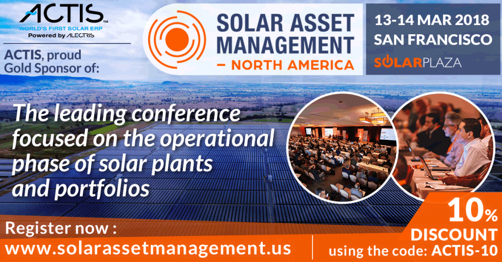 ACTIS Worlds first solar ERP sponsors Solar Asset Management NA 2018